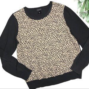 ANN TAYLOR   sz M mixed media animal print sweater